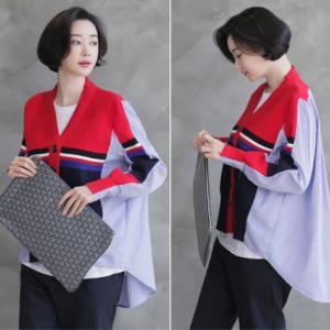 カーディガン レディース 40代 50代 60代 ファッション おしゃれ 女性 上品  黒  赤 シャツ 配色 ストライプ  ニット カーディガン 冬 ミセス|alice-style