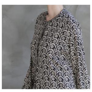 ワンピース レディース 40代 50代 60代 ファッション 女性 上品  黒 柄 長袖 ロング丈 ロングワンピース 春 ミセス きれいめ 大きいサイズ alice-style 06