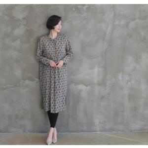 ワンピース レディース 40代 50代 60代 ファッション 女性 上品  黒 柄 長袖 ロング丈 ロングワンピース 春 ミセス きれいめ 大きいサイズ alice-style 07