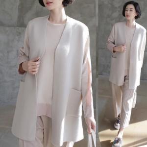 ベスト レディース 大人 40代 50代 60代 ファッション 女性 上品 黒 ベージュ無地 ロング丈 春 ミセス|alice-style