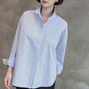 ブラウス レディース 40代 50代 60代 ファッション 女性 上品  紺 青シャツ きれいめ 通勤 無地 長袖 春 ミセス|alice-style