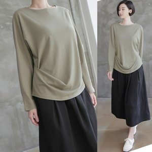 トップス レディース 40代 50代 60代 ファッション 女性 上品  黒 カーキ 緑 カーキ 緑Tシャツ 無地 長袖 春 ミセス|alice-style