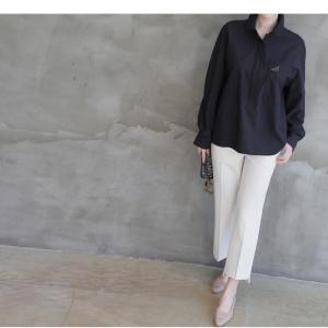 ブラウス レディース 40代 50代 60代 ファッション 女性 上品  黒 茶色 カーキ 緑 カーキ 緑トップス 長袖 無地  春 ミセス|alice-style|13