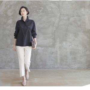 ブラウス レディース 40代 50代 60代 ファッション 女性 上品  黒 茶色 カーキ 緑 カーキ 緑トップス 長袖 無地  春 ミセス|alice-style|07