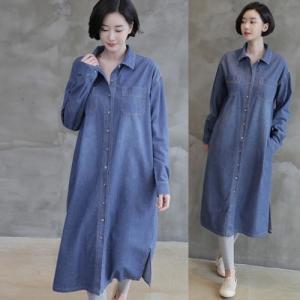 デニムシャツ レディース 40代 50代 60代 ファッション 女性 上品 ロング丈 長袖 ブラウス 春 ミセス|alice-style