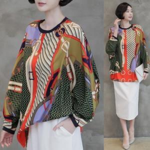 ブラウス レディース 40代 50代 60代 ファッション 女性 上品  赤ゆったり 体形カバー レトロ柄 長袖 春 ミセス|alice-style