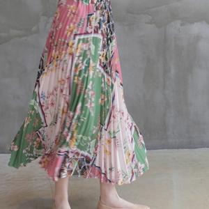 スカート レディース 大人 40代 50代 60代 ファッション 女性 上品 プリーツ ロング丈 柄 プリント 春 ミセス|alice-style