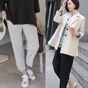 パンツ レディース 40代 50代 60代 ファッション おしゃれ 女性 上品 黒 裾スリット 半バギーパンツ ウエストゴム 無地 サイドポケット|alice-style