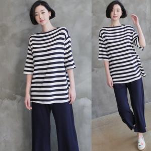 セットアップ パンツ トップス セット レディース 40代 50代 60代 ファッション 女性 上品  黒 紺 青Tシャツ ボーダー 半袖 春 ミセス|alice-style