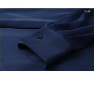 ワンピース レディース 40代 50代 60代 ファッション 女性 上品  黒 ベージュ 紺 青 シャツワンピース 無地 ロング丈 長袖 きれいめ 春夏 ミセス|alice-style|13