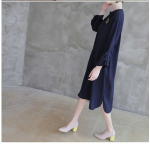 ワンピース レディース 40代 50代 60代 ファッション 女性 上品  紺 青 膝丈 無地 長袖 きれいめ  春夏 ミセス 体型カバー alice-style 13