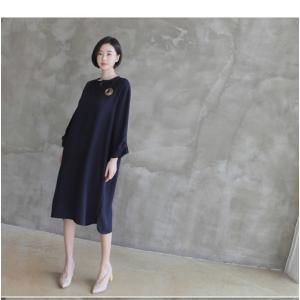 ワンピース レディース 40代 50代 60代 ファッション 女性 上品  紺 青 膝丈 無地 長袖 きれいめ  春夏 ミセス 体型カバー alice-style 17
