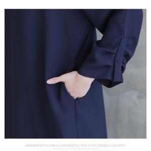 ワンピース レディース 40代 50代 60代 ファッション 女性 上品  紺 青 膝丈 無地 長袖 きれいめ  春夏 ミセス 体型カバー alice-style 06