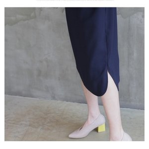 ワンピース レディース 40代 50代 60代 ファッション 女性 上品  紺 青 膝丈 無地 長袖 きれいめ  春夏 ミセス 体型カバー alice-style 07