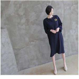 ワンピース レディース 40代 50代 60代 ファッション 女性 上品  紺 青 膝丈 無地 長袖 きれいめ  春夏 ミセス 体型カバー alice-style 09