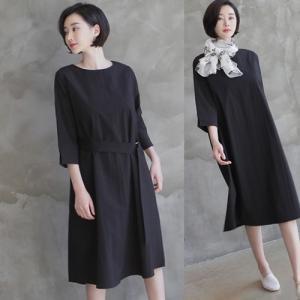ワンピース レディース 40代 50代 60代 ファッション 女性 上品  黒 ベージュ無地 膝丈 きれいめ 長袖 春夏 ミセス alice-style