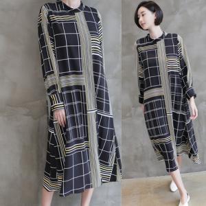 ワンピース レディース 40代 50代 60代 ファッション 女性 上品  黒ロング丈 ロングワンピース 柄 長袖 きれいめ 体形カバー 春 ミセス alice-style
