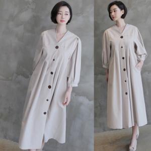 ワンピース レディース 40代 50代 60代 ファッション 女性 上品  ベージュ 紺 青Vネック 無地 長袖 きれいめ 春 ミセス alice-style
