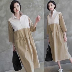 ワンピース レディース 40代 50代 60代 ファッション 女性 上品  ベージュ長袖 ロング丈 きれいめ 通勤 春 ミセス alice-style