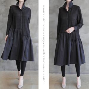 ワンピース レディース 40代 50代 60代 ファッション おしゃれ 女性 上品 黒 配色シャツ型ゆったりめワンピース 無地 長袖 冬 ミセス|alice-style