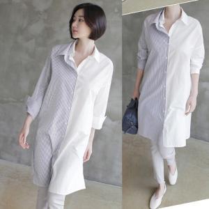 シャツ レディース 40代 50代 60代 ファッション 女性 上品  白ロング丈 切り替え 長袖 きれいめ 春 ミセス|alice-style