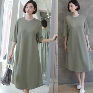 ワンピース レディース 40代 50代 60代 ファッション 女性 上品  グレー カーキ 緑 カーキ 緑7分袖 無地 ロング丈 ゆったり 体形カバー 春 ミセス alice-style