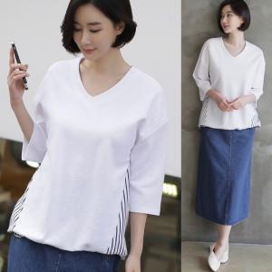 トップス レディース 40代 50代 60代 ファッション 女性 上品  白 紺 青Tシャツ 切り替え 半袖 春 ミセス|alice-style