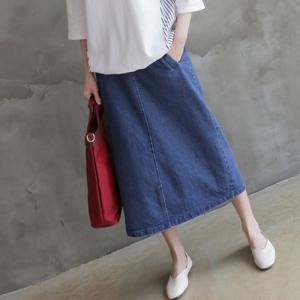 スカート レディース 40代 50代 60代 ファッション 女性 上品 ロング丈 デニムスカート 春 ミセス|alice-style