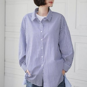 シャツ レディース 40代 50代 60代 ファッション 女性 上品 ブラウス ストライプ 長袖 きれいめ 春 ミセス|alice-style
