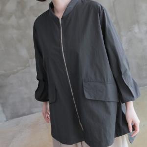 ジャケット レディース 大人 40代 50代 60代 ファッション 女性 上品 黒 ベージュ グレーハーフ丈 ジップアップ 体形カバー 春 ミセス|alice-style