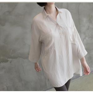 シャツ ブラウス レディース 40代 50代 60代 ファッション 女性 上品  白 ベージュ 紺 青無地 長袖 ゆったり 体形カバー 春 ミセス|alice-style|11