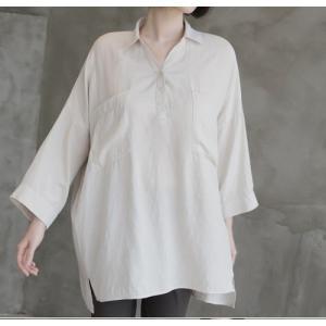 シャツ ブラウス レディース 40代 50代 60代 ファッション 女性 上品  白 ベージュ 紺 青無地 長袖 ゆったり 体形カバー 春 ミセス|alice-style|15