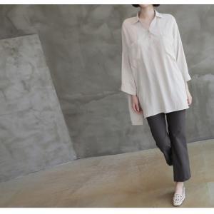 シャツ ブラウス レディース 40代 50代 60代 ファッション 女性 上品  白 ベージュ 紺 青無地 長袖 ゆったり 体形カバー 春 ミセス|alice-style|16