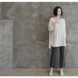 シャツ ブラウス レディース 40代 50代 60代 ファッション 女性 上品  白 ベージュ 紺 青無地 長袖 ゆったり 体形カバー 春 ミセス|alice-style|03