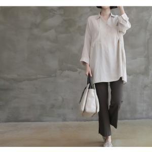 シャツ ブラウス レディース 40代 50代 60代 ファッション 女性 上品  白 ベージュ 紺 青無地 長袖 ゆったり 体形カバー 春 ミセス|alice-style|21