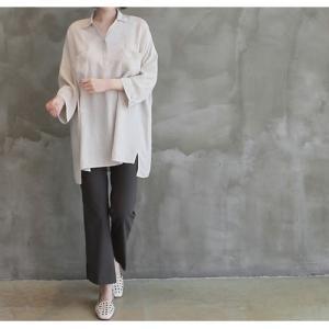 シャツ ブラウス レディース 40代 50代 60代 ファッション 女性 上品  白 ベージュ 紺 青無地 長袖 ゆったり 体形カバー 春 ミセス|alice-style|04