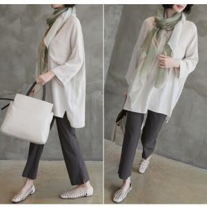 シャツ ブラウス レディース 40代 50代 60代 ファッション 女性 上品  白 ベージュ 紺 青無地 長袖 ゆったり 体形カバー 春 ミセス|alice-style|05