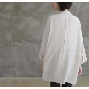 シャツ ブラウス レディース 40代 50代 60代 ファッション 女性 上品  白 ベージュ 紺 青無地 長袖 ゆったり 体形カバー 春 ミセス|alice-style|07
