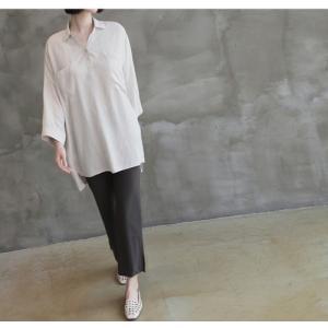 シャツ ブラウス レディース 40代 50代 60代 ファッション 女性 上品  白 ベージュ 紺 青無地 長袖 ゆったり 体形カバー 春 ミセス|alice-style|08
