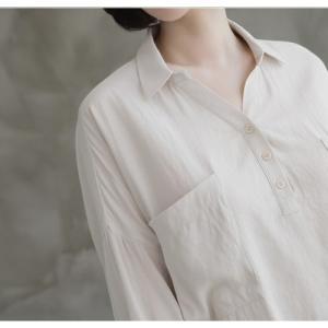 シャツ ブラウス レディース 40代 50代 60代 ファッション 女性 上品  白 ベージュ 紺 青無地 長袖 ゆったり 体形カバー 春 ミセス|alice-style|09
