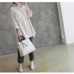 シャツ ブラウス レディース 40代 50代 60代 ファッション 女性 上品  白 ベージュ 紺 青無地 長袖 ゆったり 体形カバー 春 ミセス|alice-style|10
