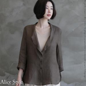 ジャケット レディース 大人 40代 50代 60代 ファッション おしゃれ 女性 上品 茶色 ハーフ丈 薄手 リネン100% 春夏 ミセス|alice-style