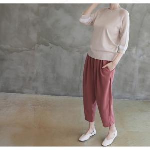 ニット トップス レディース 40代 50代 60代 ファッション 女性 上品  黒 ベージュ 紺 青ニット 無地 春 ミセス|alice-style|13