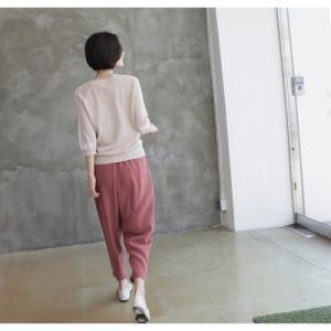 ニット トップス レディース 40代 50代 60代 ファッション 女性 上品  黒 ベージュ 紺 青ニット 無地 春 ミセス|alice-style|04