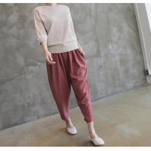 ニット トップス レディース 40代 50代 60代 ファッション 女性 上品  黒 ベージュ 紺 青ニット 無地 春 ミセス|alice-style|06