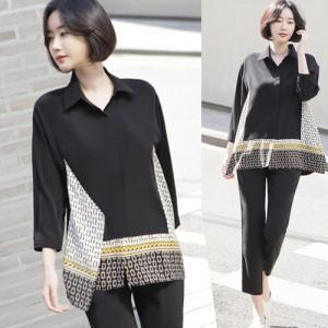 ブラウス レディース 40代 50代 60代 ファッション 女性 上品  黒切り替え ゆったり 体形カバー 長袖 きれいめ 春 ミセス|alice-style