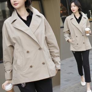 ハーフトレンチ レディース 大人 40代 50代 60代 ファッション 女性 上品 ベージュ グレーコート ジャケット ゆったり 体形カバー 春 ミセス|alice-style