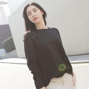Tシャツ レディース 40代 50代 60代 ファッション 女性 上品  黒 ベージュ グレートップス 無地 長袖 春 ミセス|alice-style