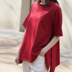 Tシャツ レディース 40代 50代 60代 ファッション 女性 上品  黒 赤半袖 無地 きれいめ トップス 春 ミセス|alice-style