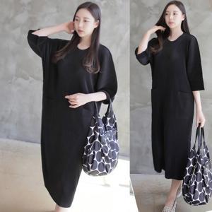 ワンピース レディース 40代 50代 60代 ファッション 女性 上品  黒 ロング丈 無地 きれいめ 7分袖 きれいめ 春 ミセス alice-style